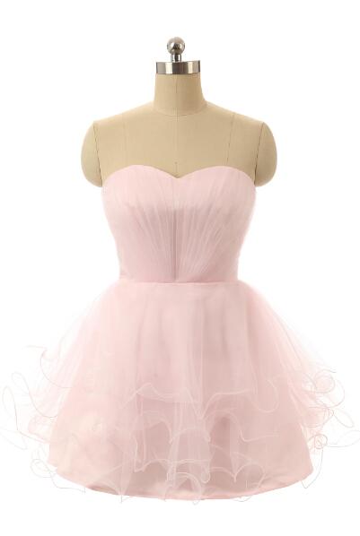 7dd7029f07e Get Quotations · Sweetheart Mini Tulle Ruffled Light Pink Short Prom Dress  Graduation Vestido De Festa Curto