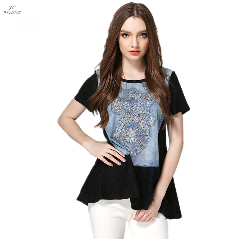 2015 Summer New Elegant Casual Loose T-shirts Printed Short Sleeve O-Neck Long T-shirts Black Fashion Large Size Women T-shirts