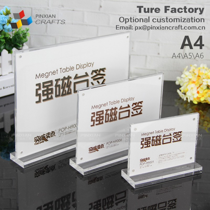 Customize Size High Transparency Acrylic Magnet Table Menu Display Stand Holder table display