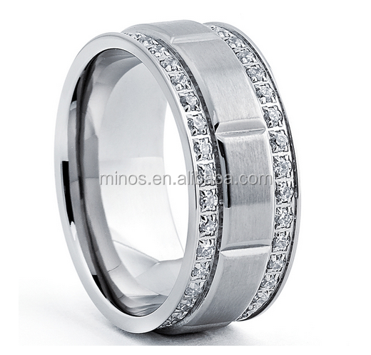 Thailand Fashion Titanium Men's Ring with Double Row Cubic Zirconia Ring(9mm) for Wholesale