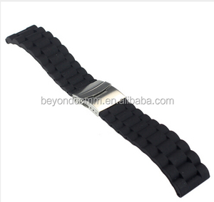 Waterproof rubber watchband 18 20 22 24mm folding buckle male sports watch strap