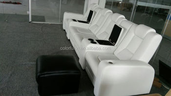 Italy White Genuine Leather Recliner Sofa Modern Cinema Sofa With LED Light  And Cold Cup Holder