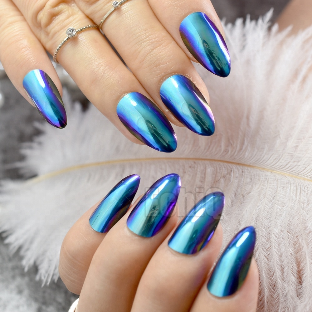 Chrome Blue False Nails Chameleon Mirror STILETTO Point Press On Nails New Fashion Tips 24pcs Z747