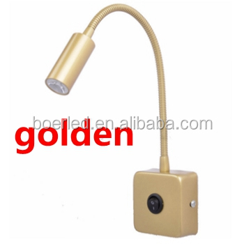Golden Color 2w Wall Mount Led Reading Lamp Swing Arm Light Product On