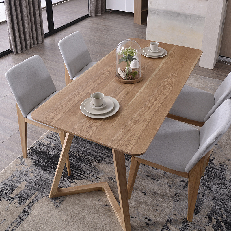 nordic wood tables 6 person dinette table and four chairs. Black Bedroom Furniture Sets. Home Design Ideas