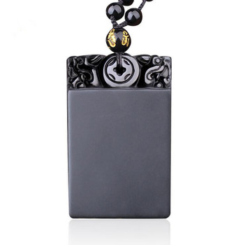 Wholesale High Quality Natural Obsidian Pendant Safety Pendant Necklace For Men&Women Amulet lucky Chain Accessories