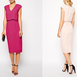 Elegant Sleeveless V-neck Satin Pencil Dress