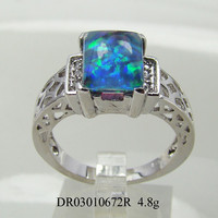 Wholesale 925 Silver Ring, Inlay Opal Jewelry,Blue Fire OPal Jewelry