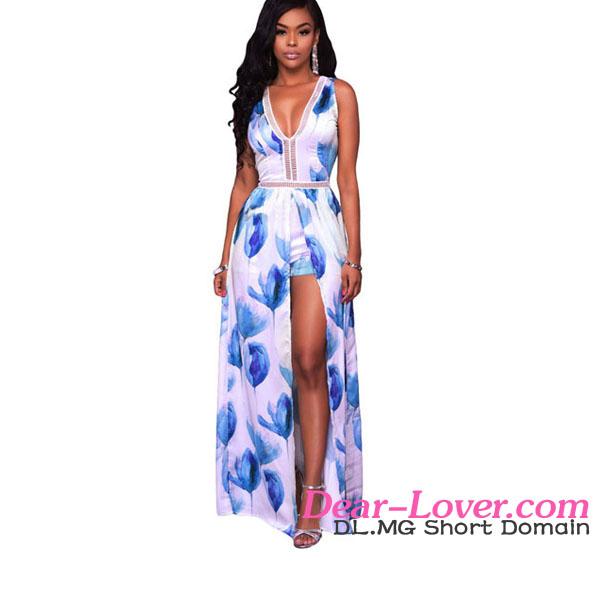 0de887aece5b Mujeres Flores Impresión vestido maxi largo con mono de pantalón  corto-Pantalones de mujer-Identificación del ...