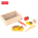 Zhorya 9pcs fake vegetables fruit food pretend kitchen tool wooden cutting toys