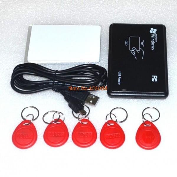 Безопасность черный USB радиочастотная идентификация id-ридер близость Smart 125 кГц EM4100 карта читать 1 шт. чтения + 5 шт. KeyTag + 5 шт. карта