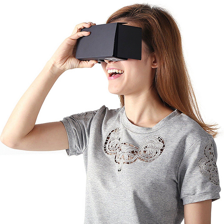Linkcool Google Cardboard V2.0 3d Glasses Vr Virtual Reality Cardboard Kit 2015 for 3--6inch Screen(black)
