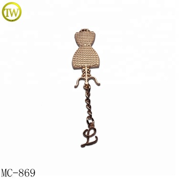 Luxury hardware accessory custom clothing metal tags with hang chain