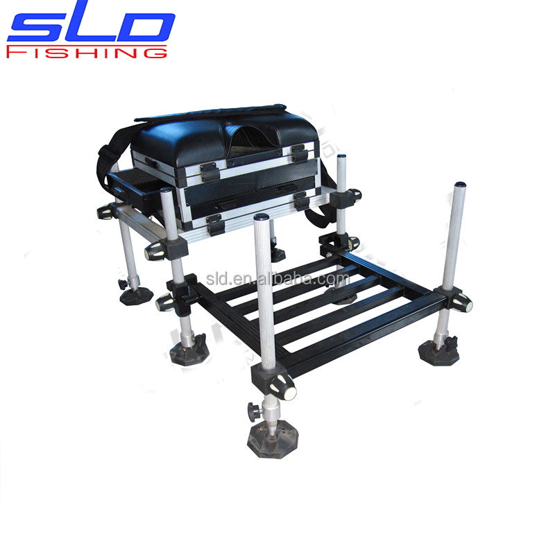 aluminum fishing tool Seat Box with drawers with footplate with side drawer
