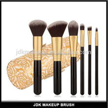 OEM Private Label Golden 6 Pieces Of Cosmetics Makeup Brush Set With Cylinder