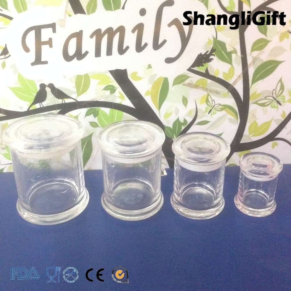 Clear Canister Food Canning Jars Set 4 Glass Jar With Lid