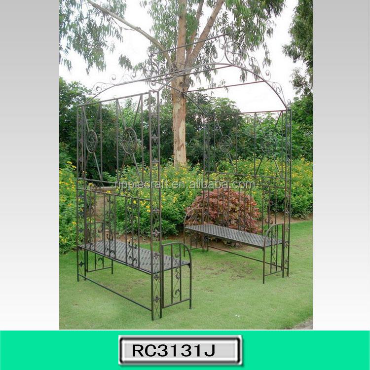 Nuovo arrivo ferro battuto giardino arco con panca per - Archi per giardino ...
