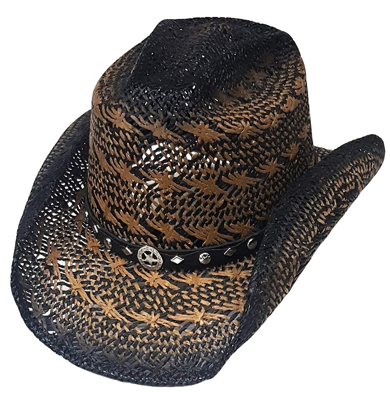 Buy Modestone Straw Cowboy Hat Breezer Metal Concho Studs Hatband ... 41cae278138