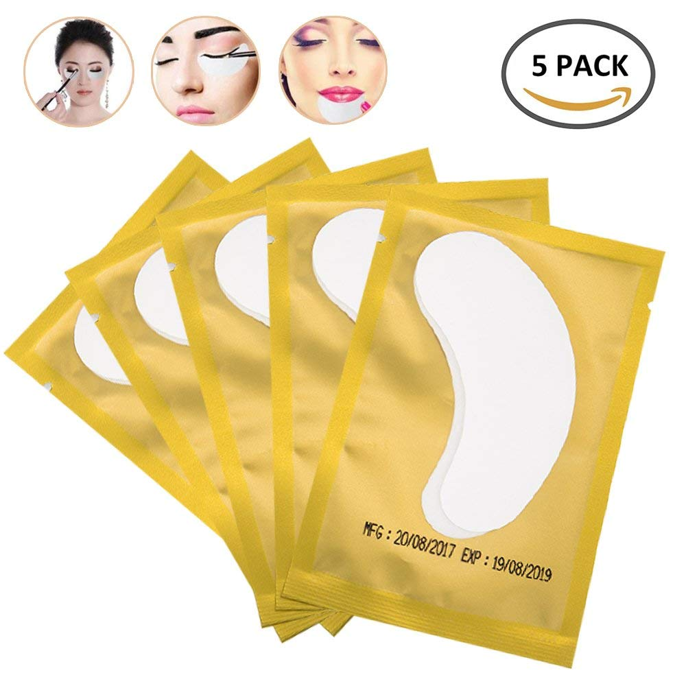 Windyus 5 Pairs Under Eye Gel Pads Patches,Eyelash Pads Set, Lint Free Lash Extension Eye Gel Patches For DIY False Eyelash Extension Makeup,Eye Mask Beauty Tool