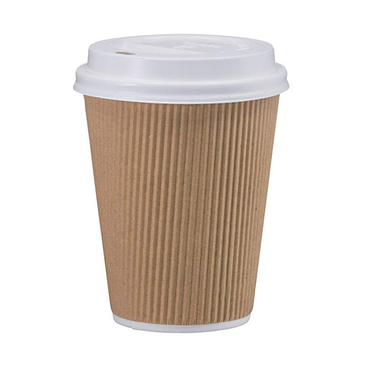 2018 New Product Disposable Christmas Supply Hot Drink Corrugated Kraft Paper Cups Ripple Plastic Lids Coffee Cup