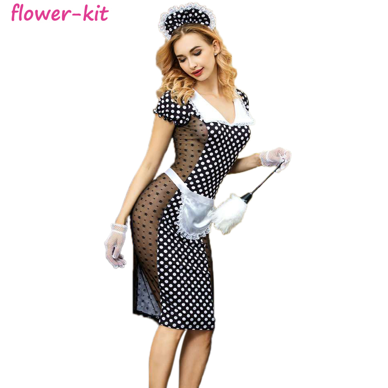 Free shipping french maid waitress fancy dress costume servant costume for halloween фото