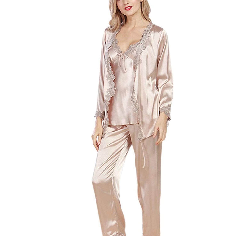 973ee9ea0b3 Get Quotations · Luxurious Women Robe Pajama Sets Faux Ladies 3 Pcs Lace  Silky Pajamas Set Pajama Sleep Lounge