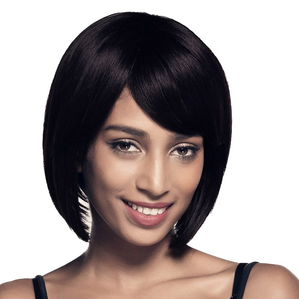Dolity Natural Looking Silky Women Human Hair Wigs Black Short Straight Fluffy Bob Style Wigs with Bangs Side Part with Breathable Net Cap