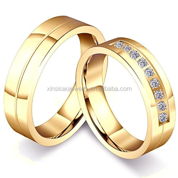 Stainless Steel Gold Wedding Ring Set For Man And Women Bride band Jewelry Diamond Style