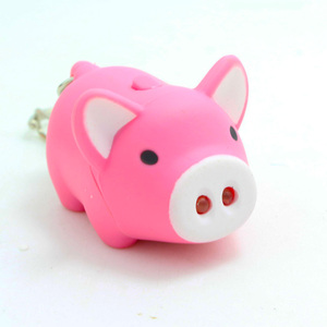 Factory Custom Fashion Cheap Light Voice Keyring, Mini Pink Pig Led Personalized Keychain With Logo