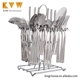 2018 promotional christmas 39pcs stainless steel cutlery Flatware Sets with iron stand