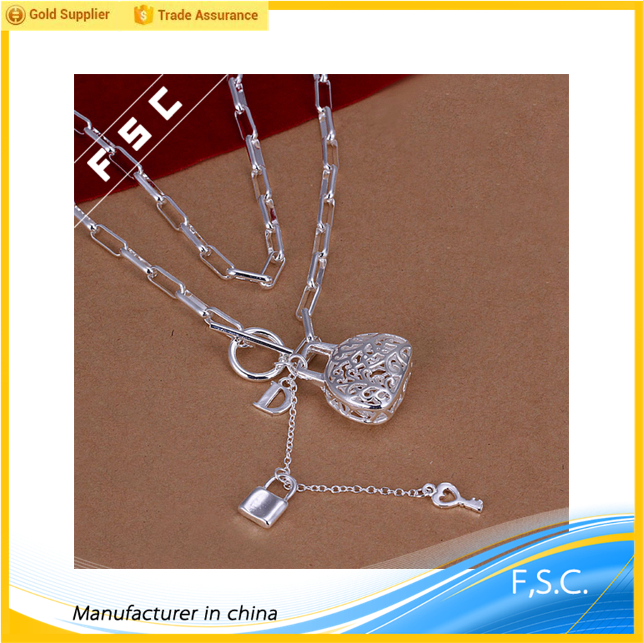 Top selling silver plated handbag with lock pendant figaro chain classic copper unisex necklace