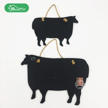 Small animal cow shape wooden menu kids chalkboard blackboard