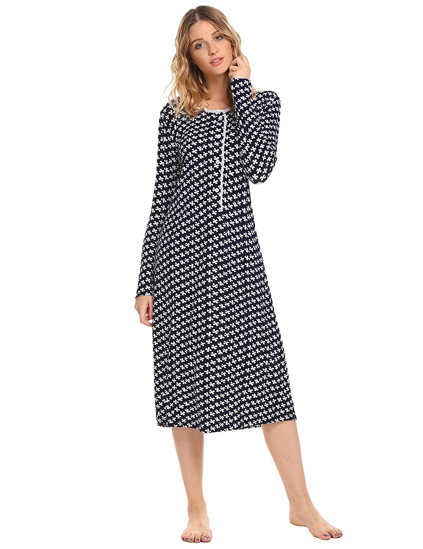 Get Quotations · Ekouaer Women s Cotton Knit Nightgown Long Sleeve Sleep  Dress Lounge Dress cff91c9bd