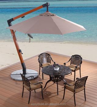 Charmant UV Resistant Sun Outdoor Patio Umbrella, Chinese Cantilever Hanging Wooden  Garden Parasol