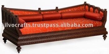 Royal indian rajasthani jodhpur hand carved teak wooden for Divan bed india