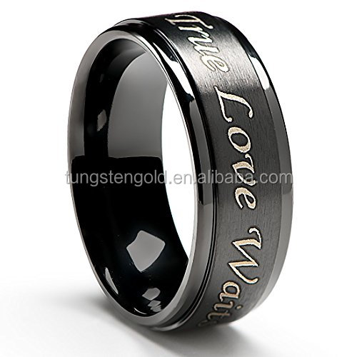 Vendita caldo True Love Waits Purity Anello in Titanio Nero Placcato 8mm Comfort Fit Design