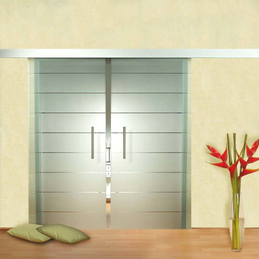 Chinese supplier painted glass interior hanging sliding for Hanging sliding glass doors