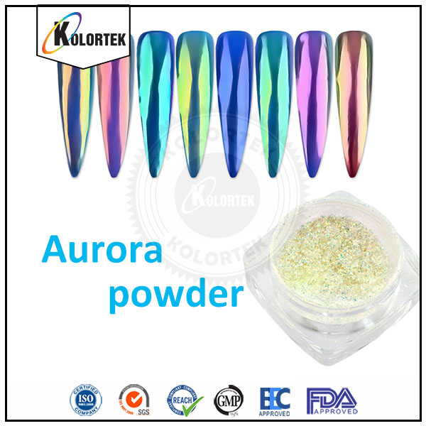 Rainbow Effect Chrome Nail Aurora Mirror Powder Pigment China Supplier