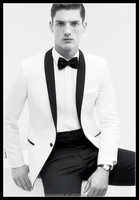 HOT! Snow White with Black Satin Lapel Men's Wedding Tuxedo.