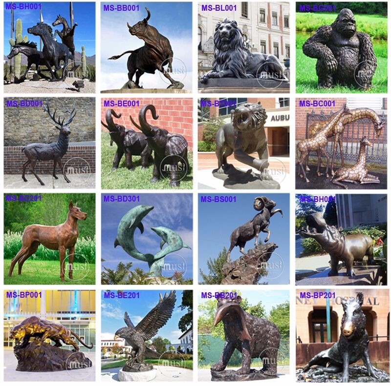 Landscape Outdoor Statue Cast Bronze Metal Horse Sculptures