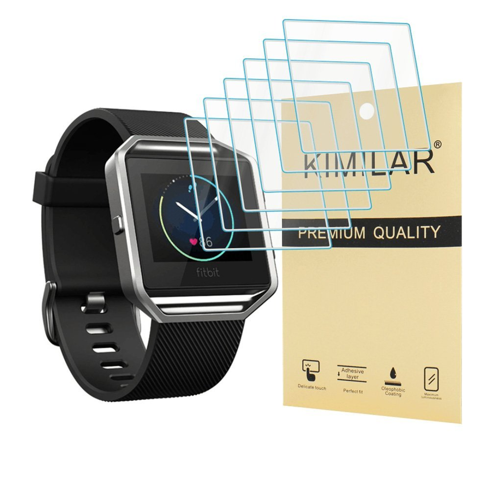 Fitbit Blaze Screen Protector, Kimilar 6-Packs Premium HD Tempered Glass screen protector Ultra High Definition Invisible and Anti-Bubble Crystal Shield for fitbit blaze smartwatch