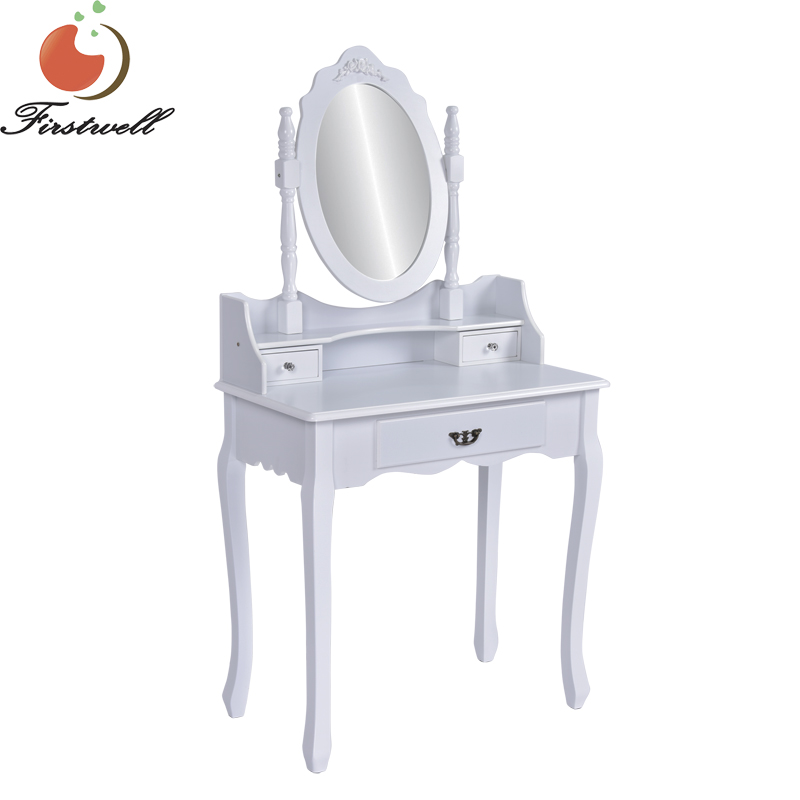 . 3 Piece White Finish Wood Vanity Dressing Table Set Bedroom Make up Table  With Mirror   Buy Wood Vanity Set Dressing Table Make up Table With Mirror
