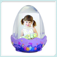 Easter egg photo picture frame snow globe with resin base craft