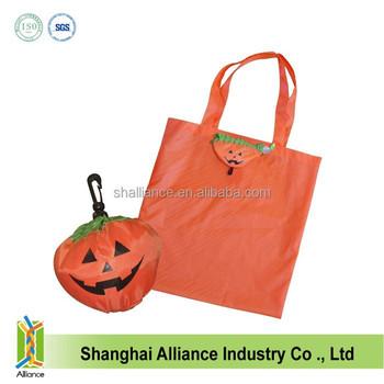 a102643e5a63 Customized Halloween Shaped 210d Polyester Folding Shopper Tote Bag ...