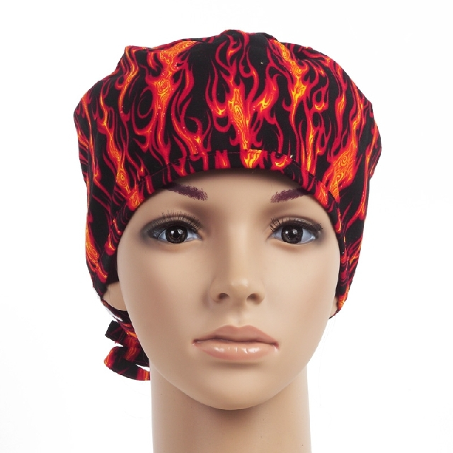 Red Flame And Multicolored Striped Wave Pattern Printed Surgical Scrub Hats Cap Women Men Nurse Doctor Dentist Enfermera In Price On
