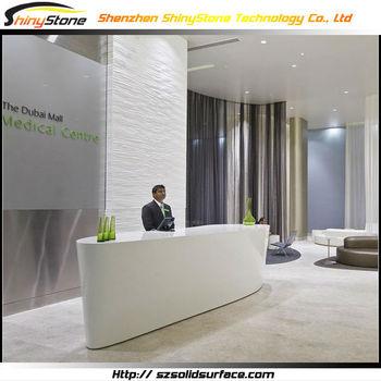 Dubai Five Star Hotel Design Artificial Marble Office Furniture Front Desk
