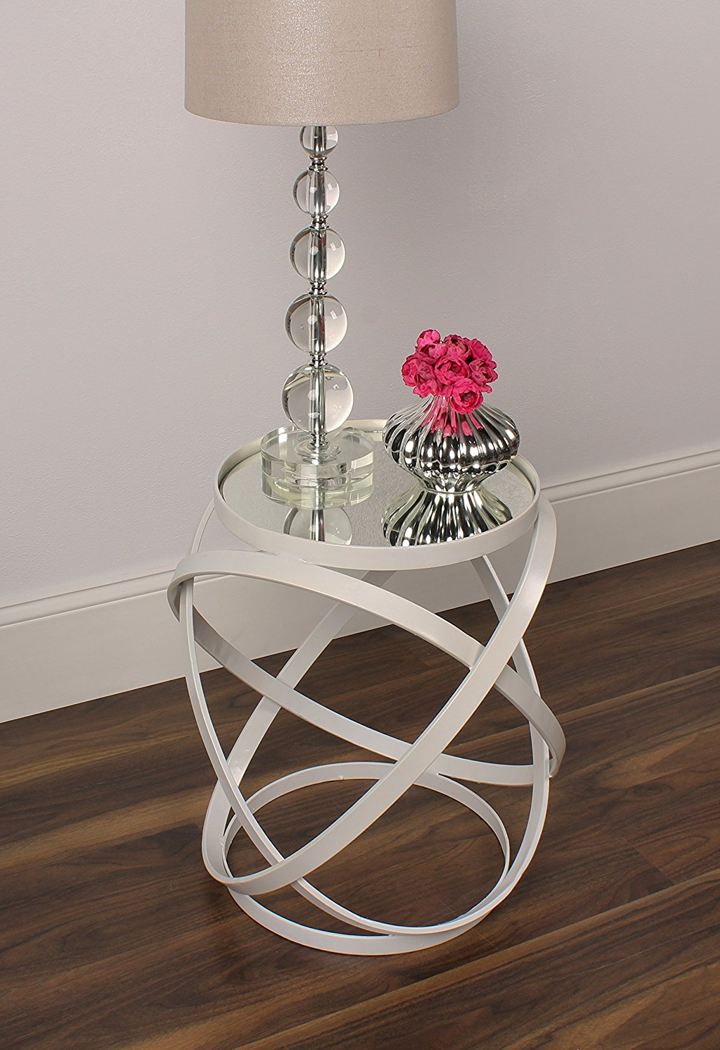 Get Quotations · Kate And Laurel Marea Round Metal Mirrored Accent Side  Table, Ivory