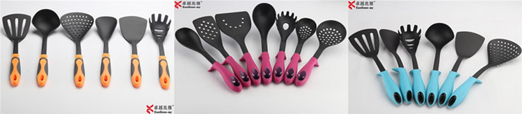 7 Pieces Nylon Cooking Tools Kitchen Accessories Rubber and PP Handle With Stand Holder Kitchenware Utensils Set 7