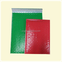 Green and red color padded envelope bubble high quality jewelry metallic bubble mailer