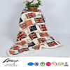 top seller london flag print coral fleece with sherpa blanket